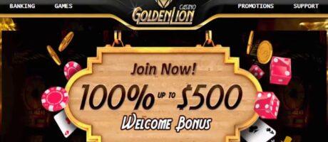 GOLDEN LION CASINO 100% hasta $500