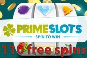 110 free spins at Prime Slots