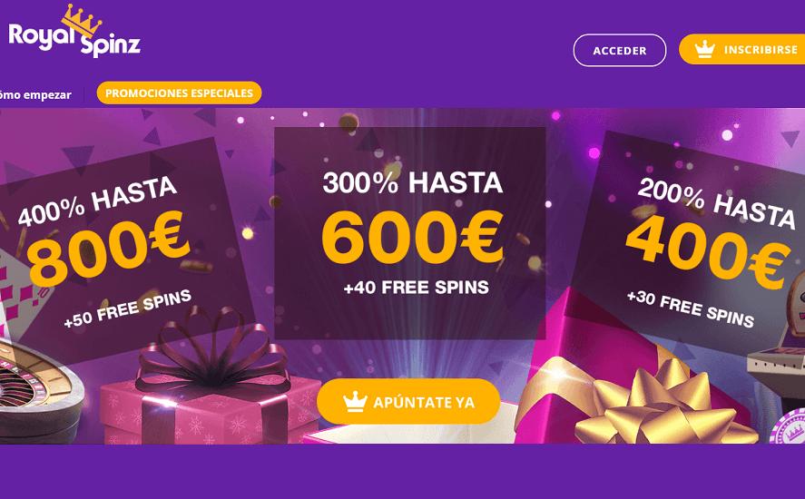 RoyalSpinz promociones especiales bono de bienvenida casino en línea